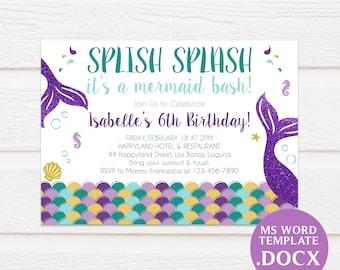 Purple invitations etsy mermaid birthday invitation printable template printable birthday invitation diy birthday invitation editable text docx tvb092 filmwisefo