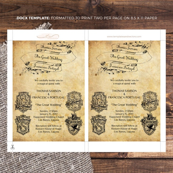 graphic relating to Harry Potter Printable Invitation Templates called Harry Potter Wedding day Invitation Template, Printable Marriage ceremony Invites, Do it yourself Marriage Invitation, Harry Potter, TVW042 DOCX MS Term Template
