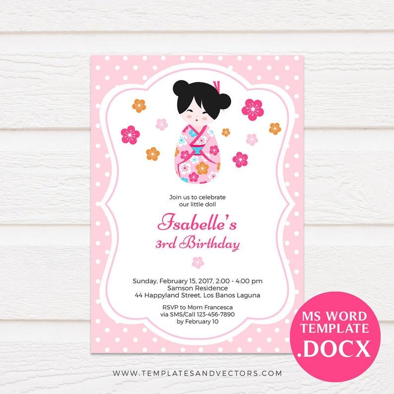 Japanese Kokeshi Doll Birthday Invitation Printable Template DIY Editable Text Kimmidoll DOCX TVB096