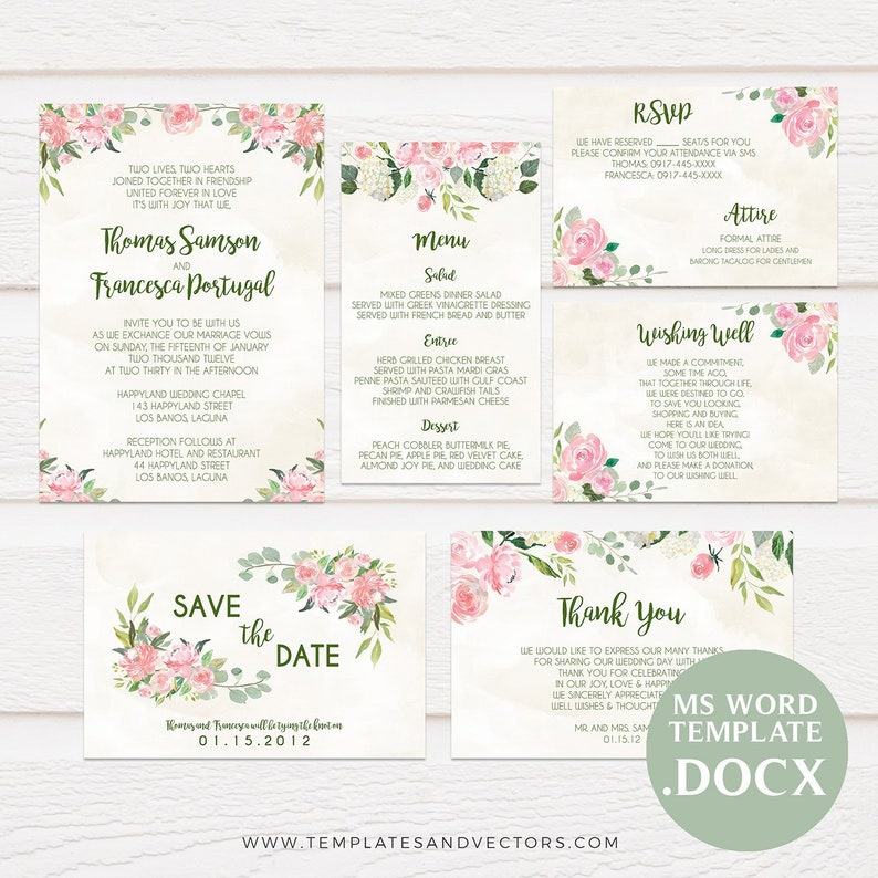 Watercolor Floral Wedding Invitation Template Printable Invitations DIY Invite TVW054 DOCX MS Word