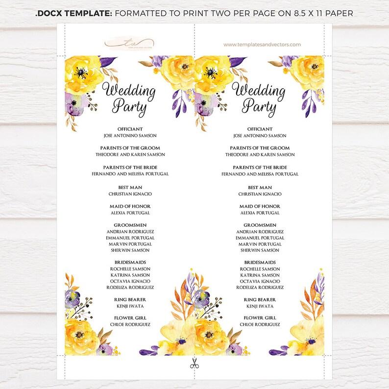 Floral Editable Text TVW044P DOCX Printable Wedding Program Wedding Party DIY Watercolor Flowers Wedding Program Template