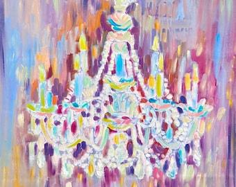 Antique Murano Glass Chandelier, Original Oil painting on canvas, Art Nouveau, Expressionism painting, Impressionism,Chandelier art,Crystal