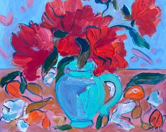 Red flowers in a blue vase, Original Oil painting on cardboard, Fauvism, Matisse, Flowers painting, blue tablecloth, Apricot,Food and drinks