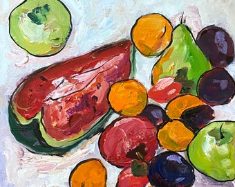 Still life with berries and fruits, Original oil painting on cardboard, Naturmort, Fauvism, Matisse, Watermelon painting, Apricot,Strawberry