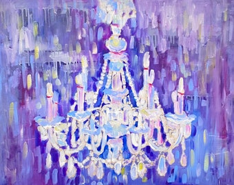 Antique Chandelier, Murano glass, Crystal, Original oil painting on canvas, Art Deco, Impressionism, Wall decoration, Gorgeous lighting, art