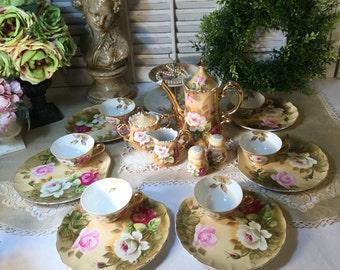 18 Pieces~Lefton Tea Set for Six(6) Cups/Treat Plates/Tea Pot/Cream&Sugar Bowl/Salt and Pepper