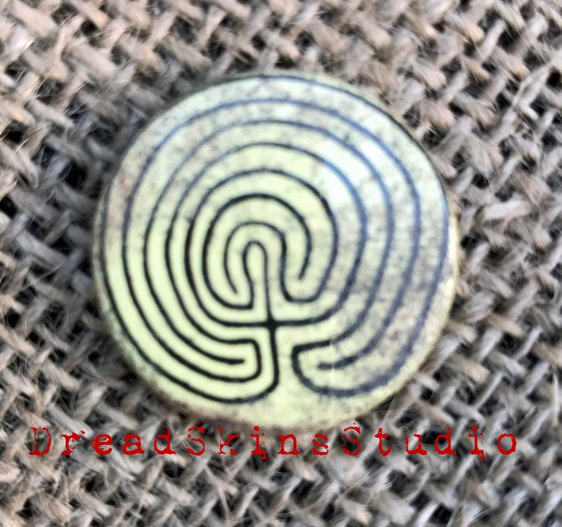 Tintagel Maze Labyrinth Postapocalyptic Wasteland Hand Distressed Pin Button Badge 1  25mm