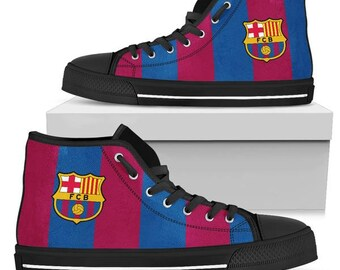 467ba5ac5954 FC Barcelona Hightop Shoes   Soccer Fans   Hightop Canvas   Football  Sneakers   Trainers   Sneaker Art   Colourful - ladies   Men s sizes