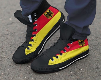 2dee196451e7 Soccer Team Custom Germany Shoes   Hightop Canvas   Football   Athletic    Trainers   Sneaker Art   Colourful - Women