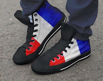 8cc5e764ae0 Soccer Team Custom France Shoes   Hightop Canvas   Football Shoes   Athletic    Trainers   Sneaker Art   Colourful - Kids