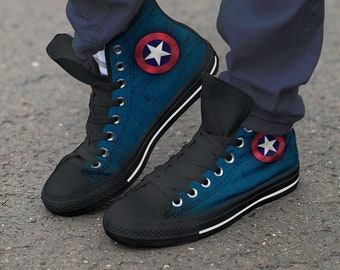 9ea2eaccfced27 Captain America Shoes   Modern Art New   Hightop Canvas   Marvel Shoes    Trainers   Converse Style   Colourful - ladies   Men s sizes