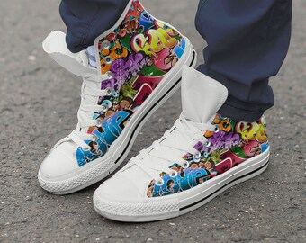 Graffiti Shoes   White Sneakers   Women   Men   Modern Art New   High top  Canvas   Trainers   Sneaker Art   Colourful - ladies   Men s sizes 8f2faec89d