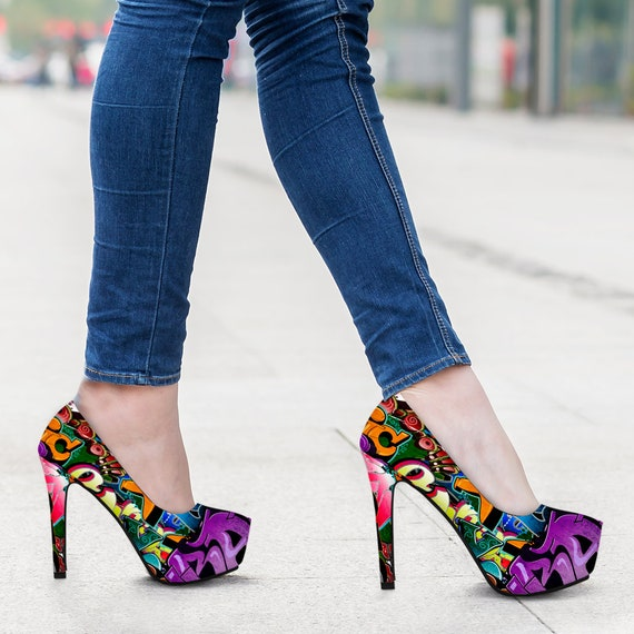 Print Colourful High Custom Heels Art Pattern Modern Art Woman New Shoes Graffiti Fashion Heel High C8wd70q