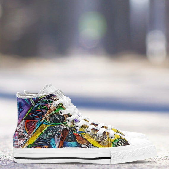 sizes Hightop Shoes Sneaker Colourful Modern Art Athletic Canvas Art ladies Sneakers amp; Graffiti New White Men's Trainers HxafaI