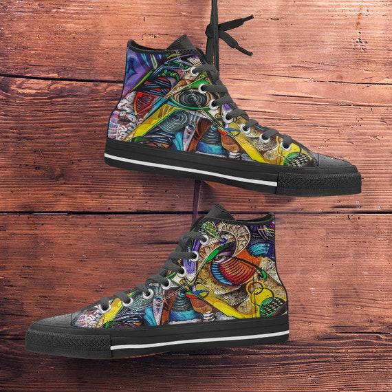 ladies amp; Kids Shoes Graffiti Art New Colourful sizes Art Hightop Canvas Sneakers Sneaker Men's Trainers Modern 7wPUwqxO