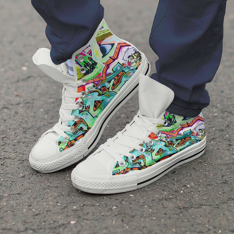 Art Graffiti Modern New Shoes Hightop Etsy Sneakers Canvas White OOw4qZE