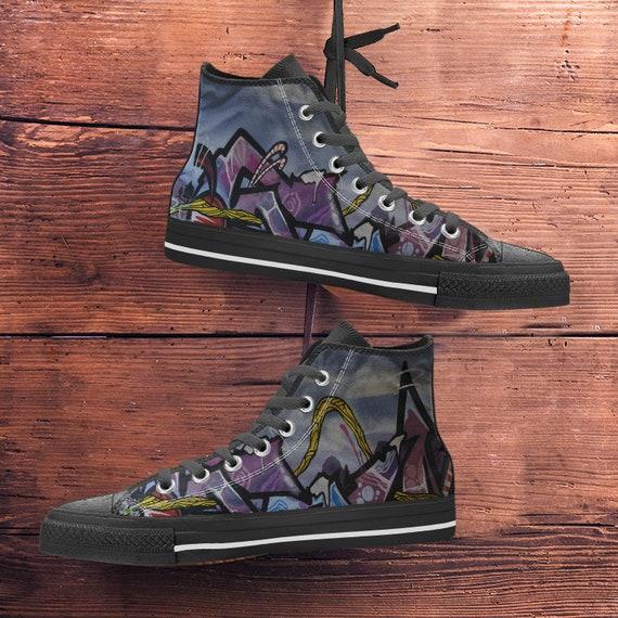 2 nouveau toile Hightop noir baskets formateurs Sneaker sport Art Art Chaussures color Graffiti Modern ItqBwZx
