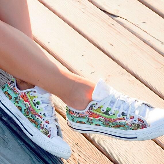 nouveau Art Art baskets formateurs Lowtop toile homme Sneaker color moderne blanc femme Graffiti chaussures 01wq7aW