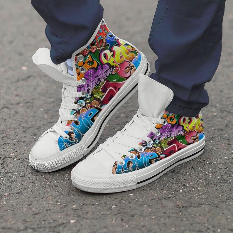 Supérieure Blanc Toile Formateurs Sneaker Graffiti Chaussures Femmes Hommes Nouveau Haute Noir Art Baskets Colorés Moderne Ifgy7Ybv6