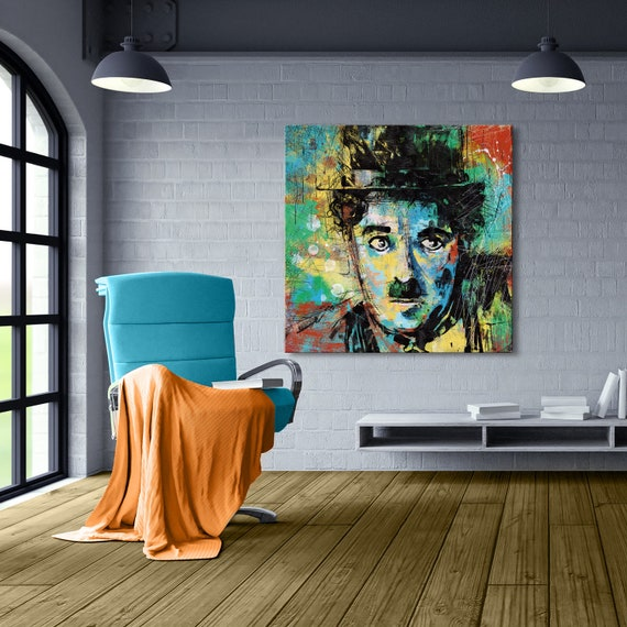 Charlie Chaplin Stretched Canvas Print Canvas Wall Art Wall | Etsy