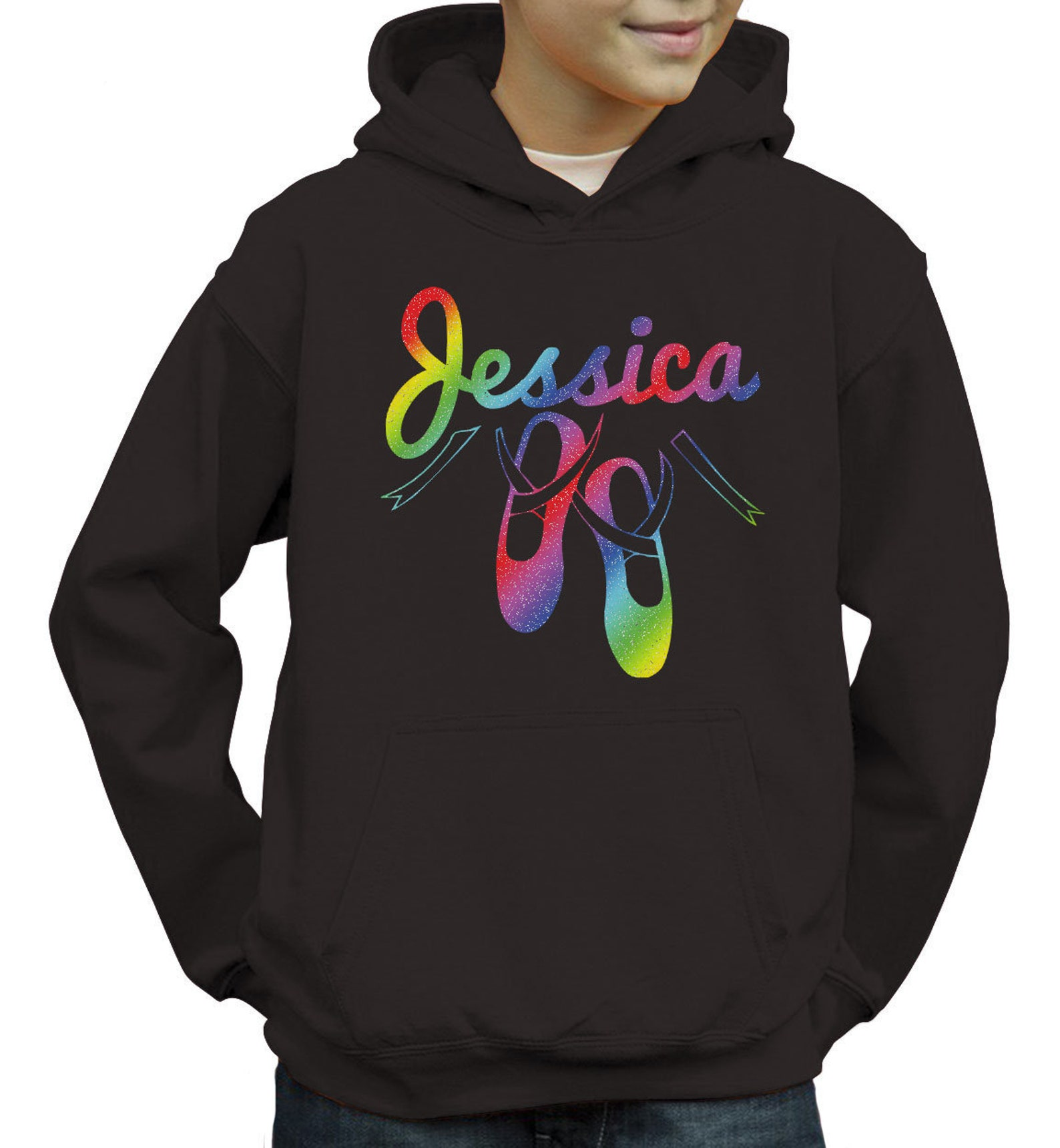 personalized ballet shoes kids hoodie rainbow holographic print custom name birthday gift