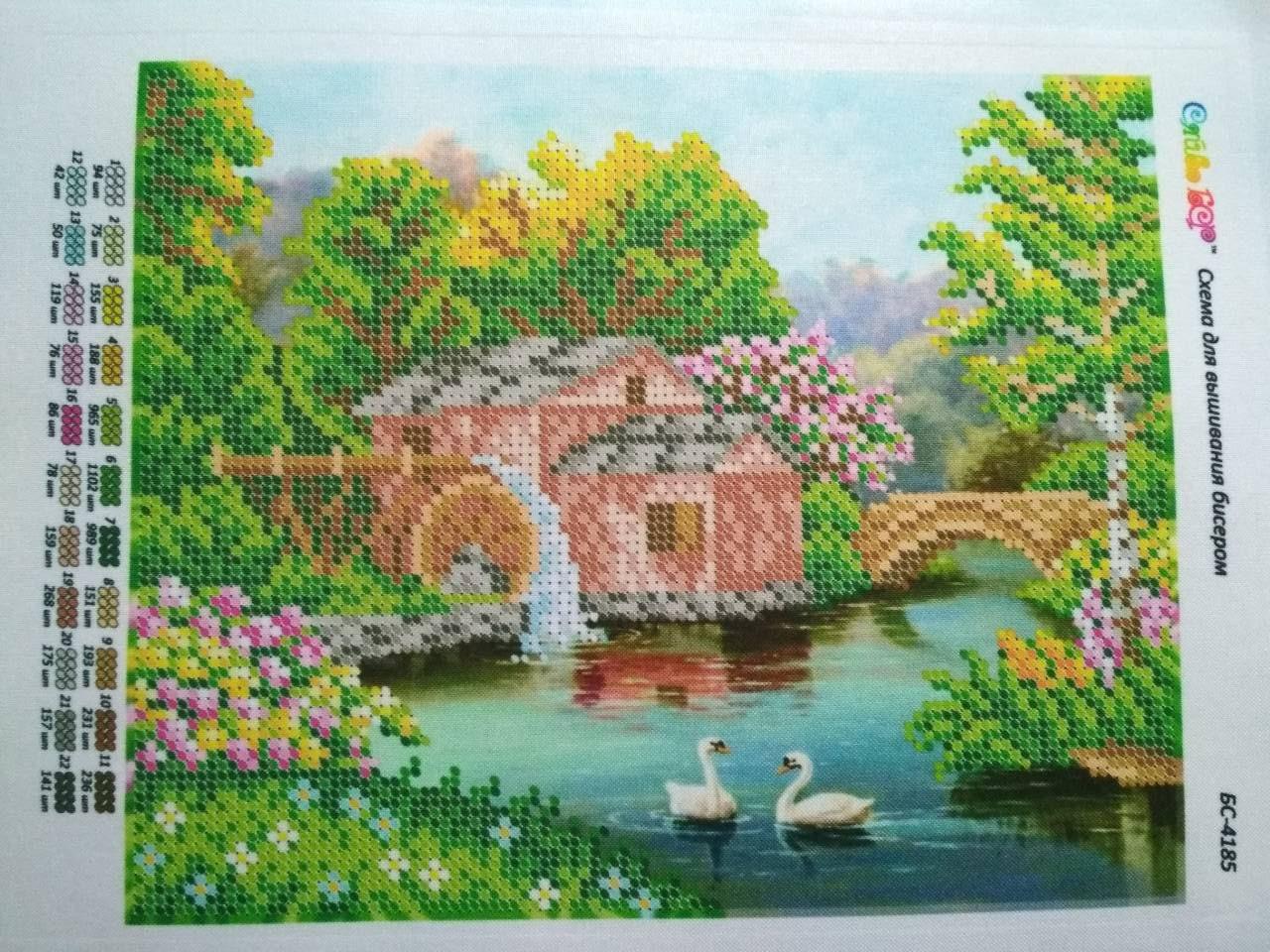 Kit Kit Kit de broderie de perles maison nature cygnes rivière bricolage perles ensemble pour broderie de perles de broderie de perles et de toile décoration murale Beadart b42456