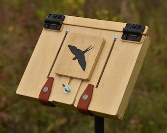 """Mini 10x8"""" plein air artist's easel, portable and lightweight, mounting on a photo tripod, perfect for traveling"""