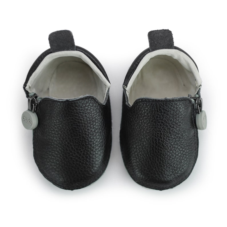 155bb98a75f20 Buku Babies Black Leather Baby Booties for Girls and Boys