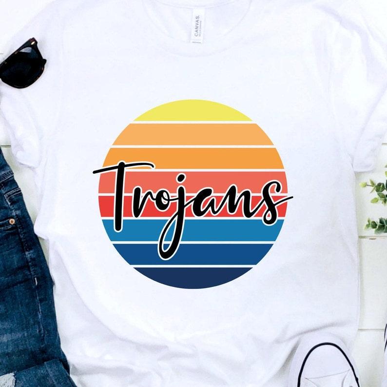 PNG and SVG Retro Sunset T-shirt Design Trojans Sublimation Design Trojans SVG