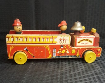 1953 Fisher Price Winkie Blinkie 200 Fire Truck Pull Toy