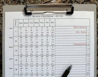 Block Calendar ~2018~ printable legal-sized paper