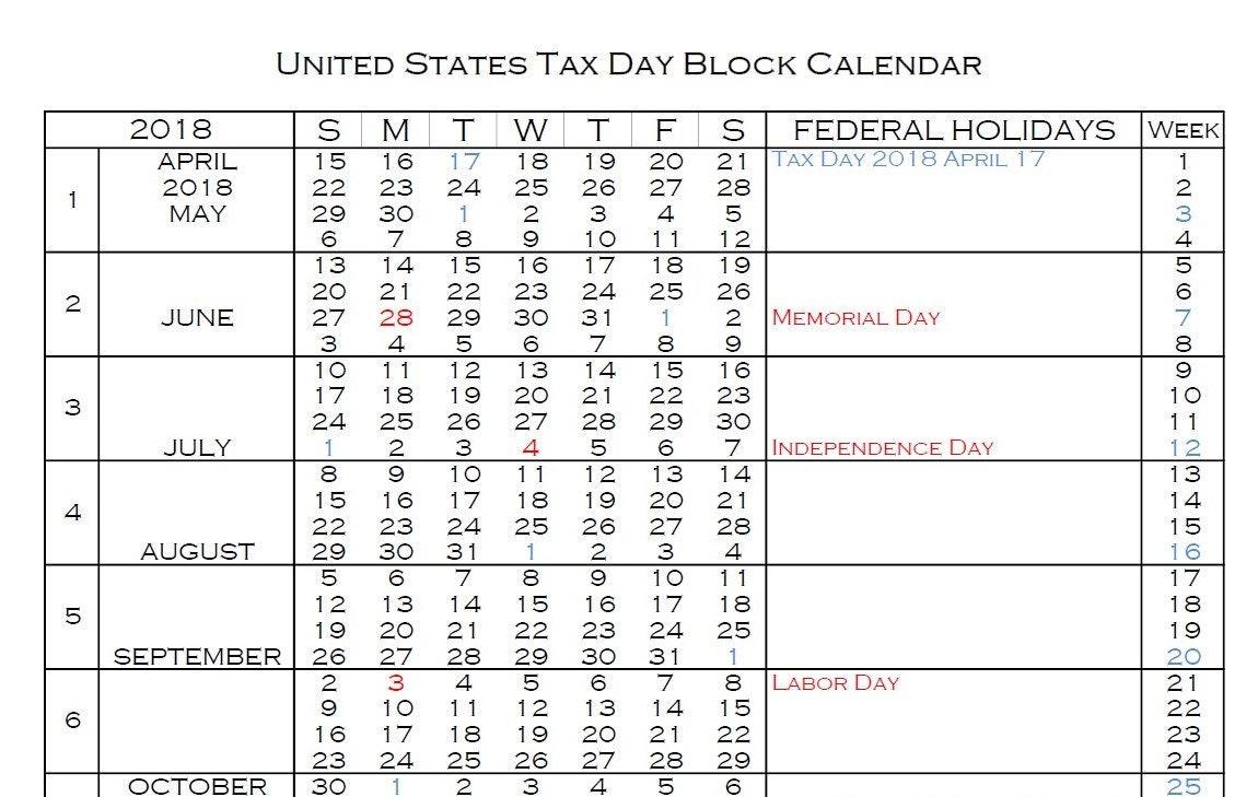 Tax year calendar 2019