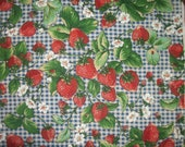 Large Strawberries Blossoms Runners Bees Ladybugs Dark Blue Gingham VTG OOP HTf The Kesslers Concord By The FAt QUARTEr Please READ Listing