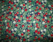 Small Red Strawberries Blossoms Runners Sage Leaves on Navy Blue OOP Unbranded By FAT QUARTEr Please READ Listing
