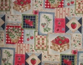 Strawberry Patchwork Baskets Blossoms Pot Runners Red Checks Blue Checks VTg OOP HTf WASHED 17 Inches L x 15 Inches W Please READ Listing