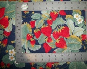 Large Red Strawberries Blossoms Runners Navy Blue Vintage OOP HTf The Kesslers Concord 17 Inches Long x 17 Inches Wide Please READ Listing