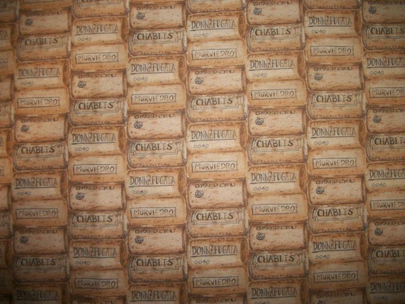 Wine Corks in a Row Chablis Murviedro Donnafugata Orand Cru Wine Wisdom Mary Urban David Textiles By The HALF YARD Please READ Listing