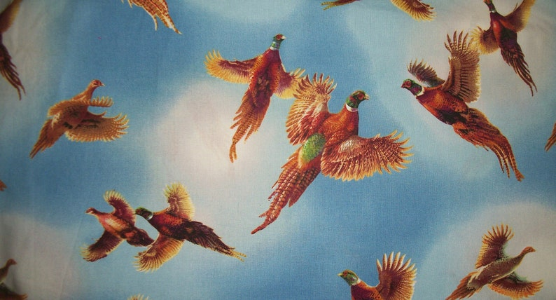 Ring Necked Pheasants in Flight Bright Blue Sky James A Merger Quilting Treasures WASHED Sold By The HALF YARd Please READ Listing