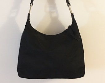 1270 A vintage 1980 s Prada Black nylon and leather shoulder bag Price  includes FREE world wide shipping a70d36e402