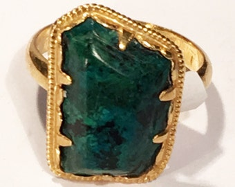 A beautiful Vintage Malachite and gilt metal ring