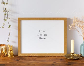 Download Free Horizontal Frame Stock | Wooden Frame Mockup With Vase and Candle | Digital Frame | Jpeg + Png + Psd PSD Template