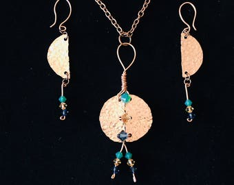 Hammered Copper  Circle Necklace and Earrings