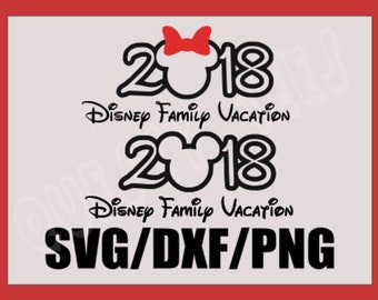 SVG 2018 Disney Family Vacation Mickey and Minnie Mouse with Bow- Mouse Ears Bow- Silhouette Cameo or Cricut- DXF-PNG-Clipart Disney