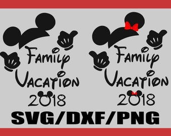 SVG-2018 Family Vacation Mickey and Minnie Mouse with Bow- Mouse Ears Bow Disney- Silhouette Cameo or Cricut- DXF-PNG-Clipart Disney