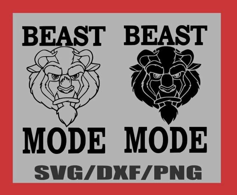 SVG-Beast Mode Beauty and the Beast Fitness Workout- Silhouette Cameo or  Cricut- DXF-PNG-Clipart Disney