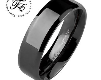 ca25220e1e Engraved Promise Ring Personalized Black Beveled 6MM