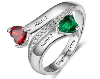2b3cb0f1cdbd3 Women's Promise Ring 2 Birthstone Beautiful Hearts Antique | Etsy