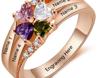 dd89792a7 Mother's Mom Family Rose Gold IP Birthstone 4 Stone Heart Ring 4 Name  Engraved 4 Birthstone