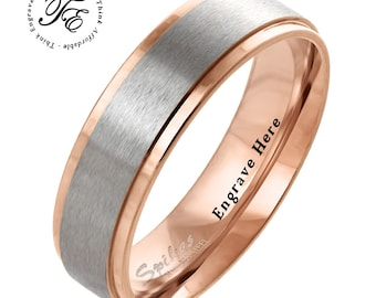 4e629bbda2 Mens Promise Ring Mens Wedding Band Personalized Engraved Two Tone