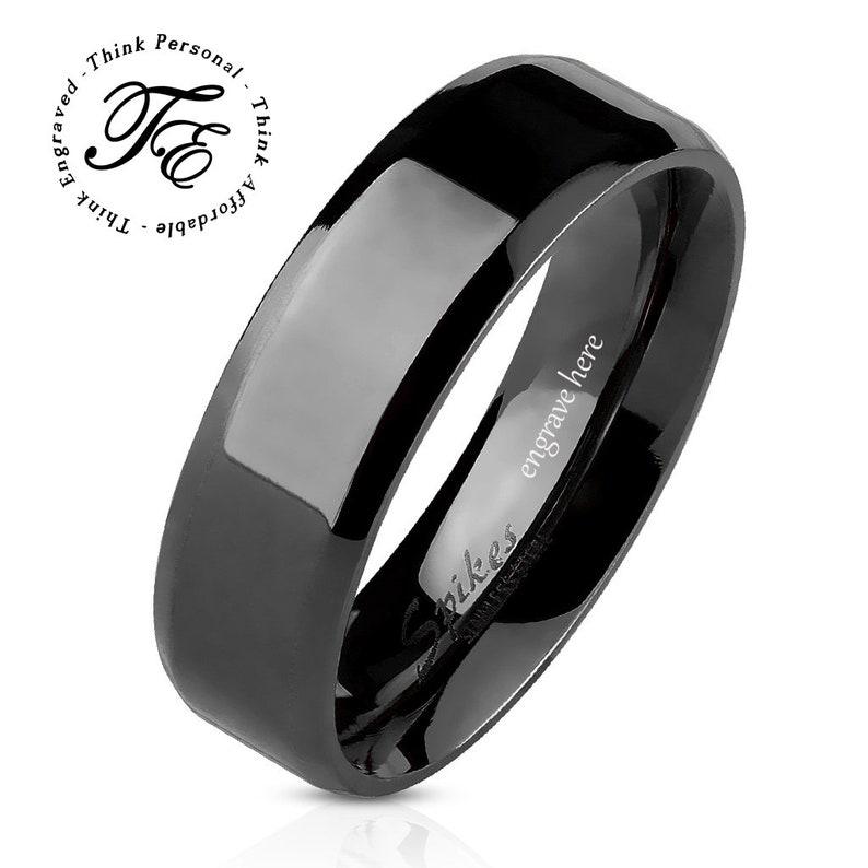 67c3a27854 Men's Promise Ring Engraved Black Beveled 8MM | Etsy